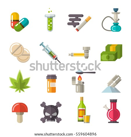 Drugs icons set vector. Different narcotic drug dependence: medical syringe, marijuana, tablets, skull