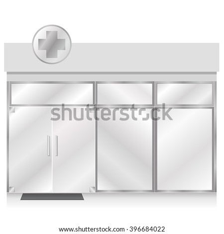 Drugstore Glass Store Facade with Cross sign on top, vector illustration