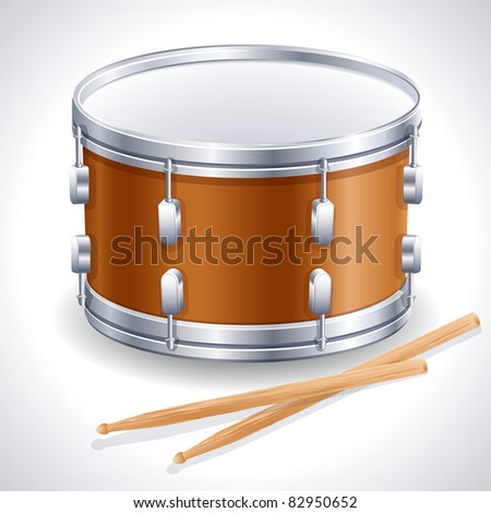 drum and drumsticks - stock vector