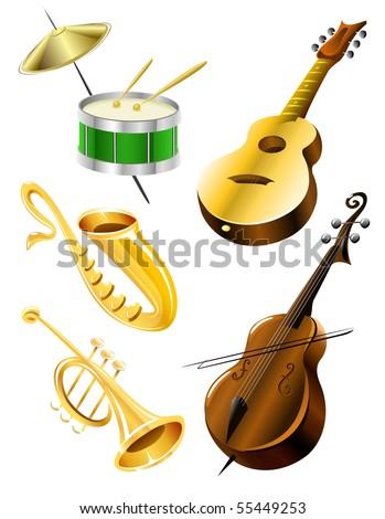 Drum, guitar, tramble, sax, contrabas music instruments - vector illustration - stock vector