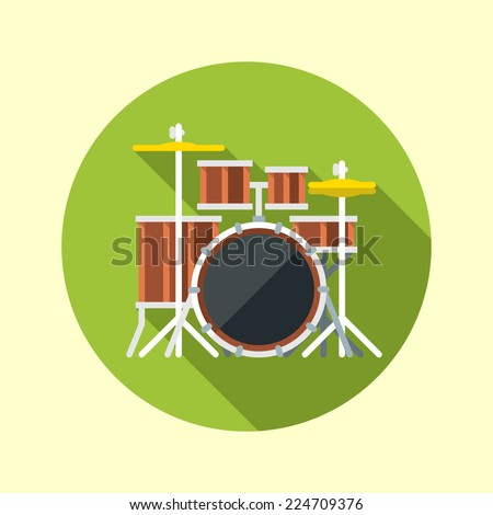 Drum kit icon. Flat design long shadow. Vector illustration. - stock vector