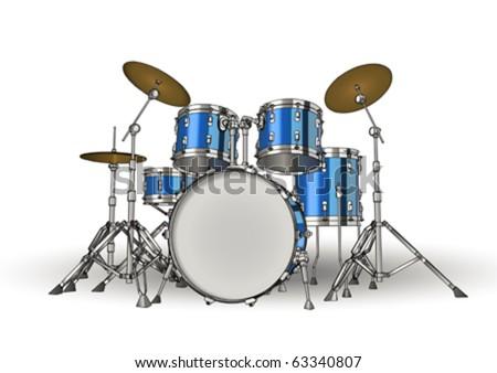 Drum kit on white background - stock vector