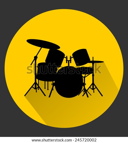 Drum kit, web icon in circle frame. Musical concept - Set of drums, black silhouette, flat theme, long shadow style design. vector art image illustration, isolated on yellow background, eps10 - stock vector