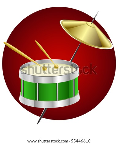 drum music instrument in circle - vector illustration - stock vector