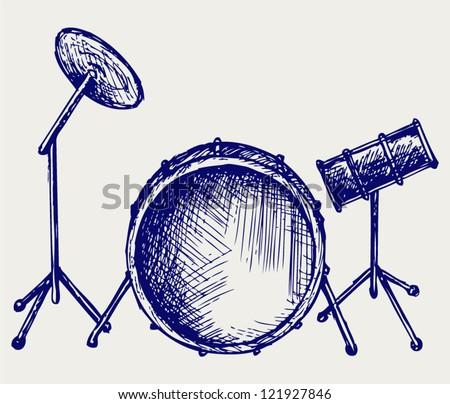 Drum set. Doodle style - stock vector