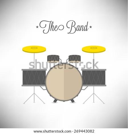 Drum set flat design vector illustration on white background - stock vector
