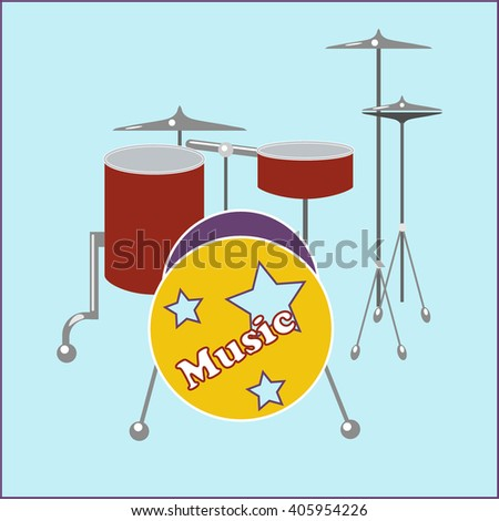 Drum set flat icon on a pale background blue