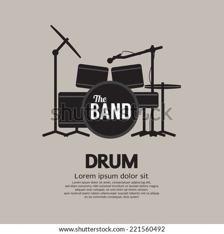 Drum Set Music Instrument Vector Illustration - stock vector