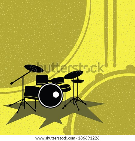 drum set on the retro style vector - stock vector