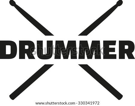 Drum sticks with word drummer - stock vector