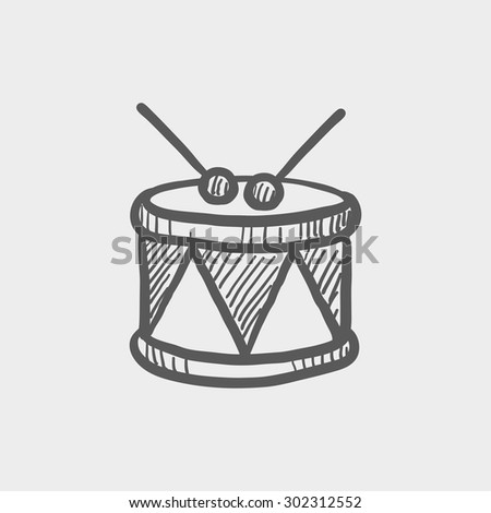Drum with stick sketch icon for web and mobile. Hand drawn vector dark grey icon on light grey background. - stock vector