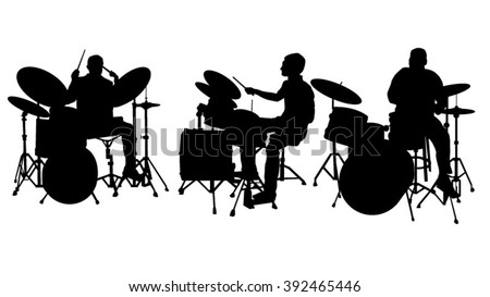 Drummer silhouette - stock vector