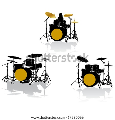 drummer solo set.Vector - stock vector