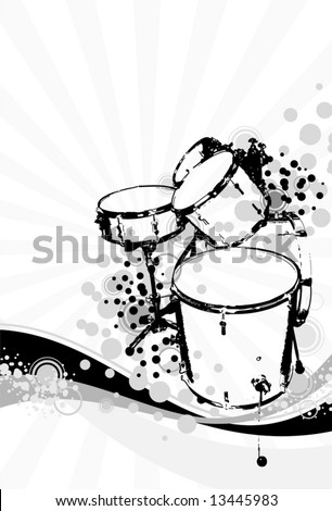 drummers on an abstract background - stock vector