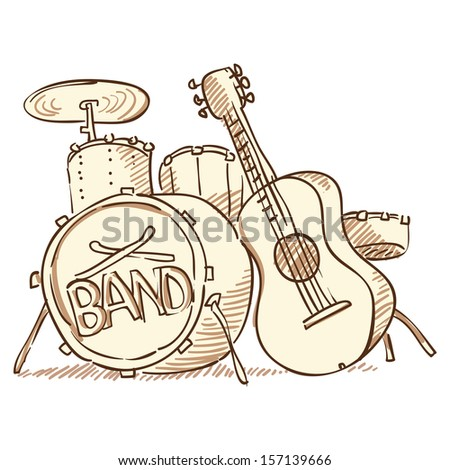 Drums and Guitar - stock vector