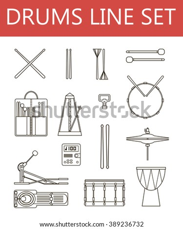 Drums line set Black and white vector icon