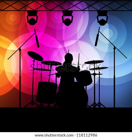Drums player vector background with neon lights - stock vector