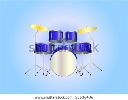 drumset purple ( background on separate layer ) - stock vector