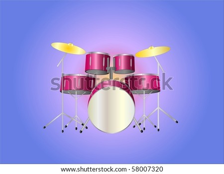 drumset red ( background on separate layer ) - stock vector