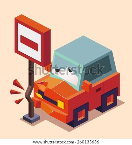 drunk car accident - stock vector