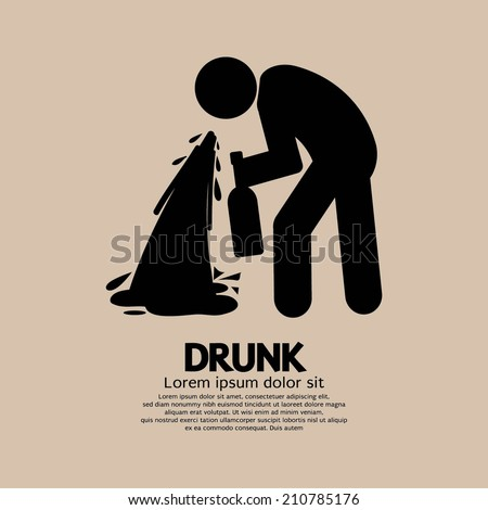 Drunk Person Graphic Symbol Vector Illustration - stock vector