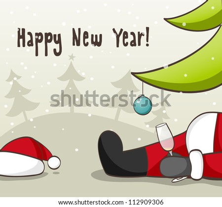 Drunk Santa Claus . EPS 10 vector illustration for Christmas design. - stock vector