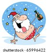 Drunk Santa Clause In The Snow - stock photo