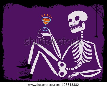 drunk skeleton with cocktail cup in hand - stock vector