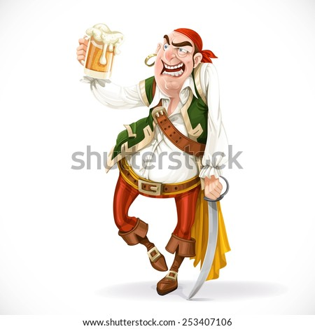 Drunken pirate with a glass of beer is based on the sword isolated on a white background
