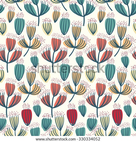 Dry flower seamless pattern vector background