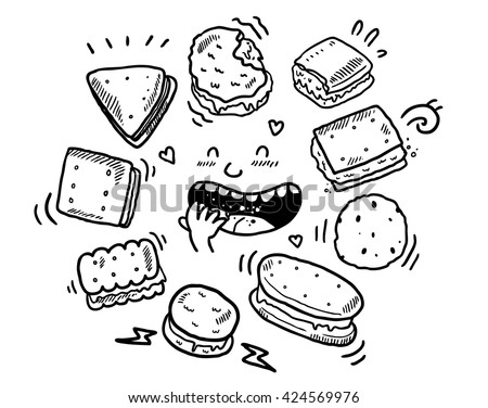 dset of biscuit doodles - stock vector