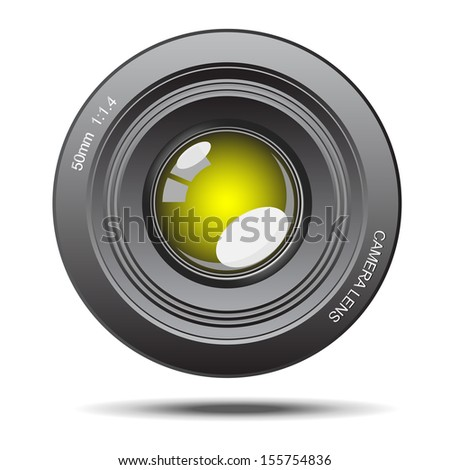 DSLR camera lens optical yellow glass with reflection illustration create by vector program - stock vector