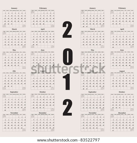 Dual 2012 Calendars. One with first day of week beginning on Sunday and the other with first day of week beginning on Monday - stock vector