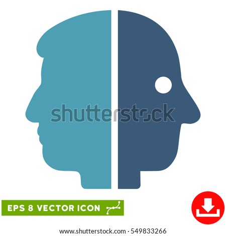 Dual Face EPS vector icon. Illustration style is flat iconic bicolor cyan and blue symbol on white background.