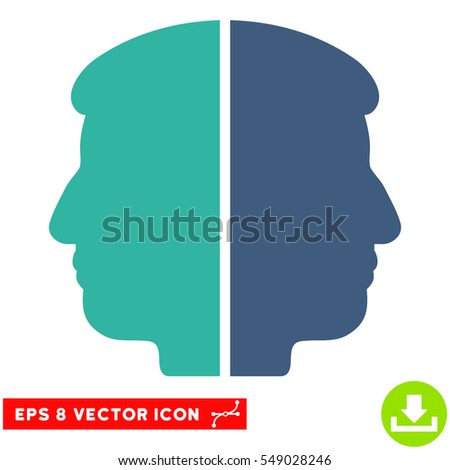 Dual Face EPS vector pictogram. Illustration style is flat iconic bicolor cobalt and cyan symbol on white background.