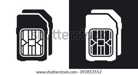 Dual SIM cards icon, vector. Two-tone version on black and white background