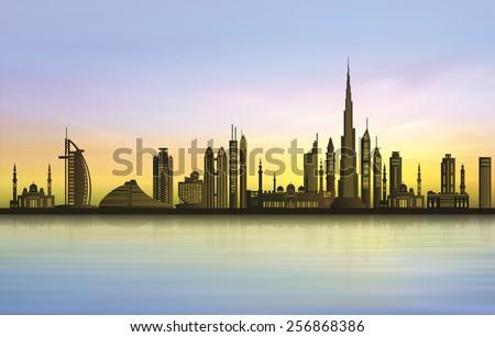 Dubai city skyline at sunset - stock vector