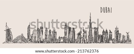 Dubai City skyline detailed silhouette. Hand drawn, engraved vector illustration. - stock vector