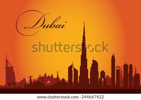 Dubai city skyline silhouette background, vector illustration - stock vector