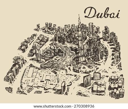 Dubai City skyline, top view. Hand drawn, engraved vector illustration. - stock vector