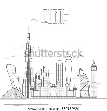 Dubai City Iconic Buildings Line Art Stock Vector