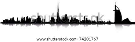 dubai skyline - stock vector