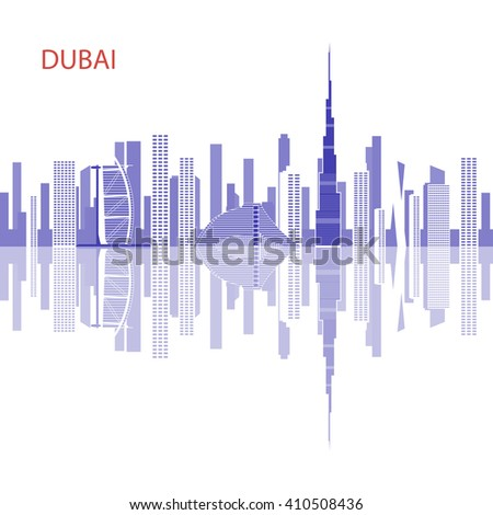 Dubai - the largest city in the United Arab Emirates, the administrative center of Dubai. The most important commercial and financial center of the UAE. Urban landscape and Dubai hotels. - stock vector