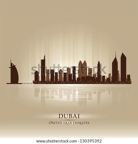 Dubai United Arab Emirates skyline city silhouette - stock vector
