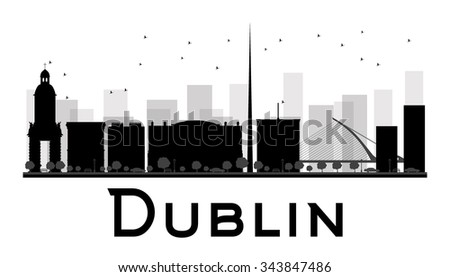 Dublin City skyline black and white silhouette. Vector illustration. Simple flat concept for tourism presentation, banner, placard or web site. Business travel concept. Cityscape with famous landmarks - stock vector