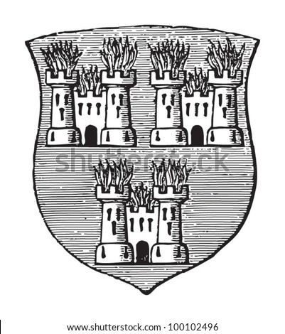 Dublin coat of arms (capital of Ireland) / vintage illustration from Meyers Konversations-Lexikon 1897 - stock vector