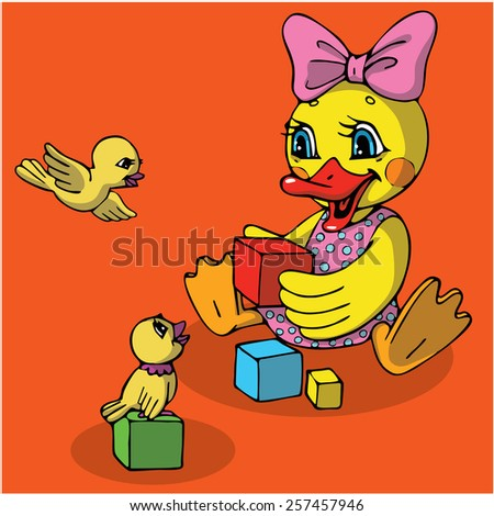 Duck and birds. Vector characters. - stock vector