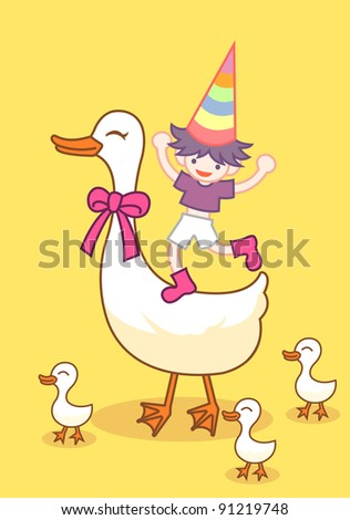 duck ang boy - stock vector