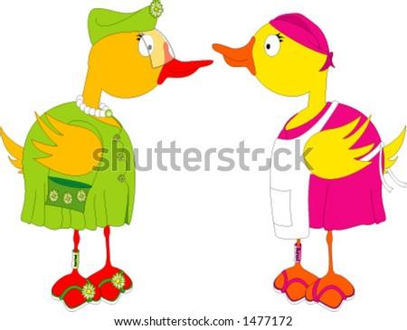Duck Gossip - stock vector