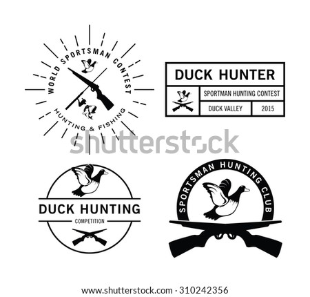 Duck Hunting label badge - stock vector